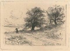 À Montmartre 1709 - Original Etching by Eugène Delatre - 1886