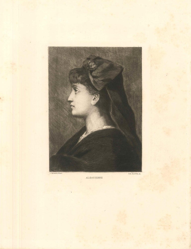 Alsacienne is a fine black and white etching, realized by Eugène Delâtre (1864-1939), after Jean Benner.  A beautiful etching representing a female profile portrait, is in excellent condition, except for some light foxing beyond the marginal line.