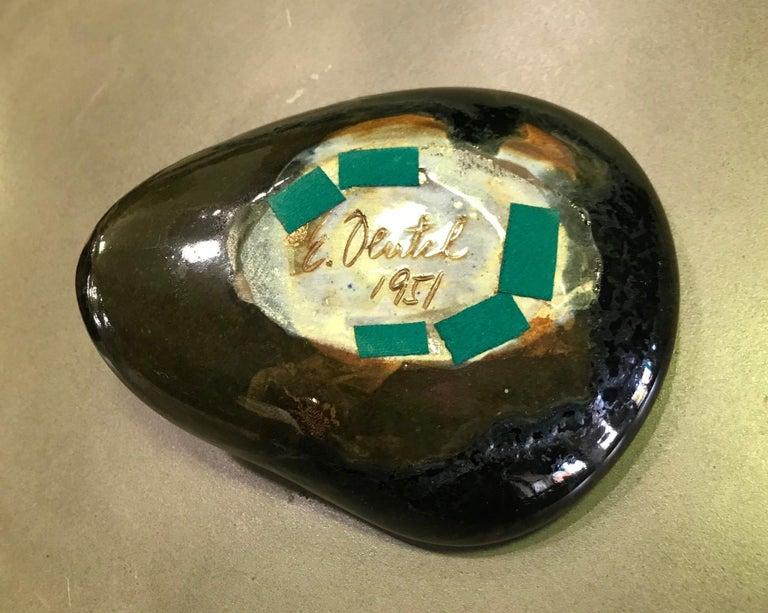Eugene Deutch Signed Mid-Century Modern Glazed Ceramic Folded Bowl Dish, 1951 2