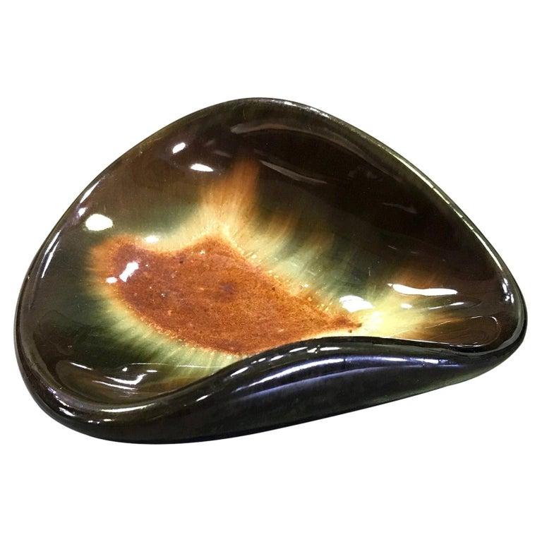 Eugene Deutch Signed Mid-Century Modern Glazed Ceramic Folded Bowl Dish, 1951