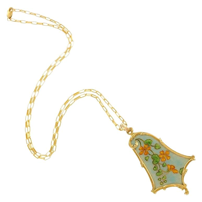Eugène Feuillâtre French Art Nouveau Gold and Enamel Floral Pendant Necklace