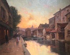 19th Century Parisian Street Scene Oil Painting depicting Paris 'Evening Glow'
