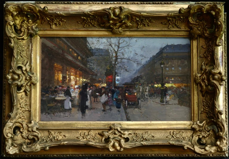 Cafe de la Paix - Paris - Figures in Cityscape at Night by Eugene Galien-Laloue For Sale 1