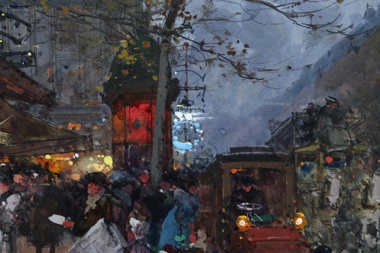Cafe de la Paix - Paris - Figures in Cityscape at Night by Eugene Galien-Laloue For Sale 3