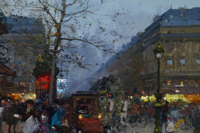 Cafe de la Paix - Paris - Figures in Cityscape at Night by Eugene Galien-Laloue For Sale 4