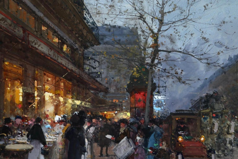 Cafe de la Paix - Paris - Figures in Cityscape at Night by Eugene Galien-Laloue For Sale 5