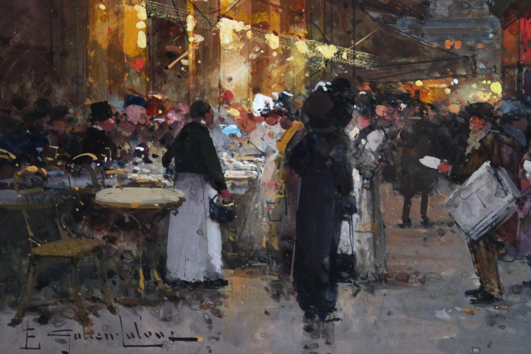 Cafe de la Paix - Paris - Figures in Cityscape at Night by Eugene Galien-Laloue For Sale 6