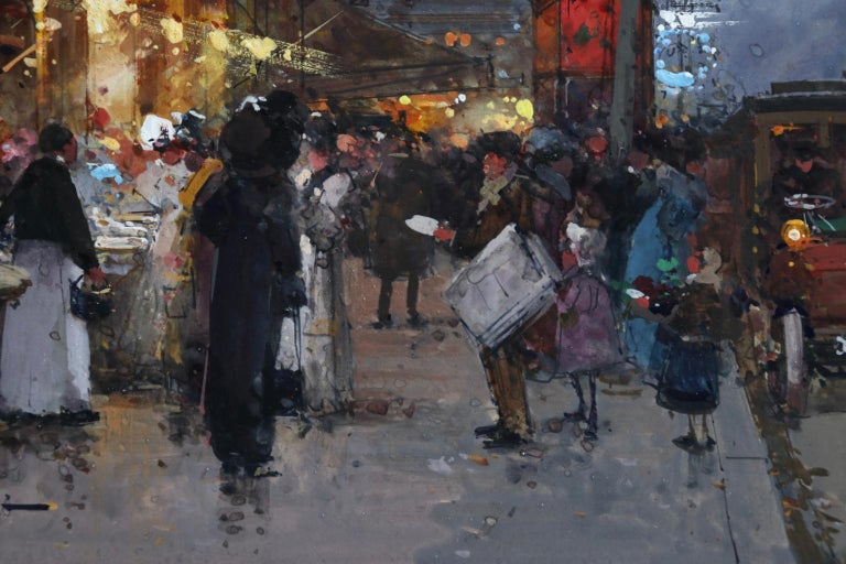 Cafe de la Paix - Paris - Figures in Cityscape at Night by Eugene Galien-Laloue For Sale 7