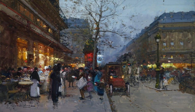 A beautiful gouache on board circa 1890 by French impressionist painter Eugene Galien-Laloue depicting a bustling night scene at the Café de la Paix, a famous café at the Place de l'Opera, Paris. Signed lower left. This work has been authenticated
