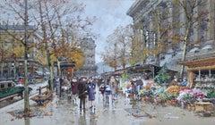 Marche aux Fleurs - Place de la Madeleine, Paris - Cityscape by E Galien-Laloue