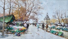 Marche aux Pont du Carrousel - Paris - Figures in Cityscape by E Galien-Laloue