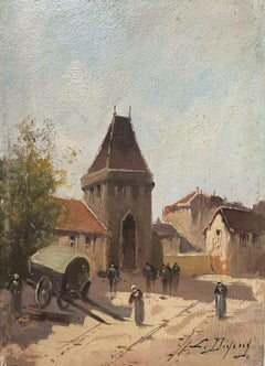ORIGINAL SIGNED ANTIQUE OIL - FIGURES IN OLD FRENCH TOWN CARTS & TOWN GATES
