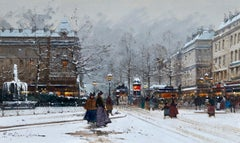 Paris sous la neige - Impressionist, Figures in Cityscape by E Galien-Laloue