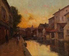 Post-impressionist Parisian Street Scene 'Evening Glow' by Eugene Galien-Laloue