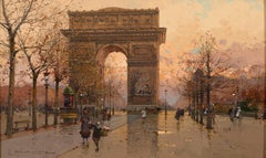 'Sunset at the Arc de Triomphe' Parisian street scene of Paris with figures