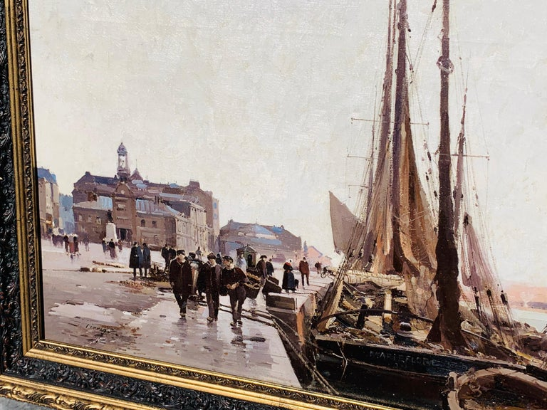 19th century French painting - The docks in Bordeaux - Painting by Eugene Galien-Laloue