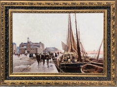 19th century French painting - The docks in Bordeaux