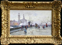 The Old Trocadero - Paris - Elegant Figures in City Landscape by E Galien-Laloue