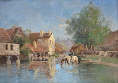 Watering the Horses - Normandie, France - Village - River - Man on Horseback