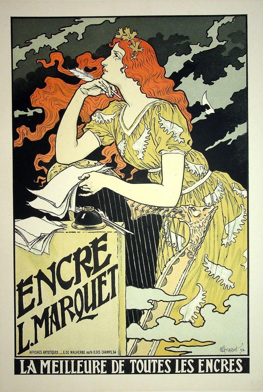 The Inspiration of the Poetess - Lithograph (Les Maîtres de l'Affiche), 1899 - Print by Eugene Grasset