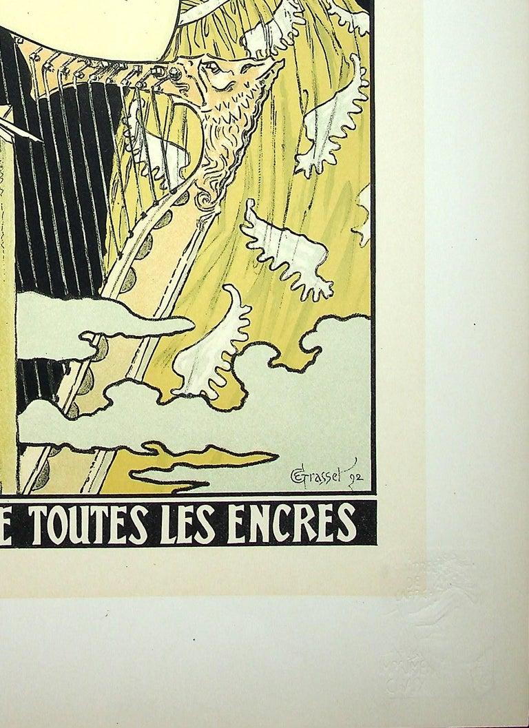 The Inspiration of the Poetess - Lithograph (Les Maîtres de l'Affiche), 1899 - Beige Figurative Print by Eugene Grasset
