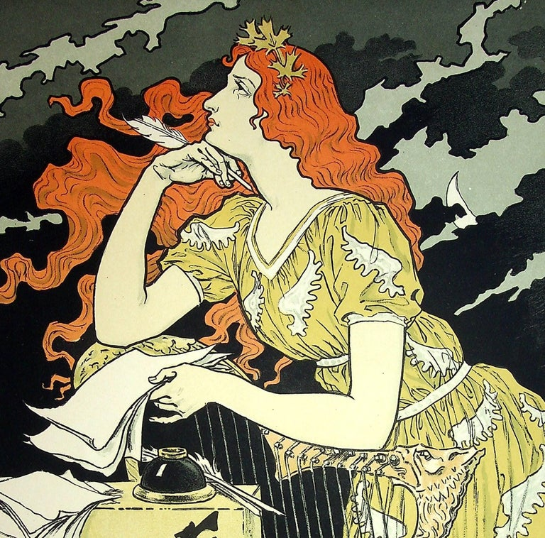 Eugene GRASSET (1845 - 1917) The Inspiration of the Poetess, 1899  Stone lithograph Printed signature in the plate On vellum  Size 39 x 29 cm (c. 15.3 x 11.4