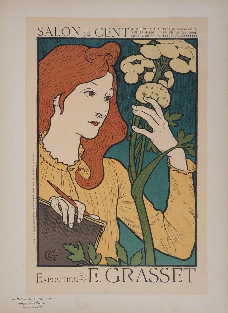 Woman with Flowers - Lithograph (Les Maîtres de l'Affiche), 1897 - Print by Eugene Grasset