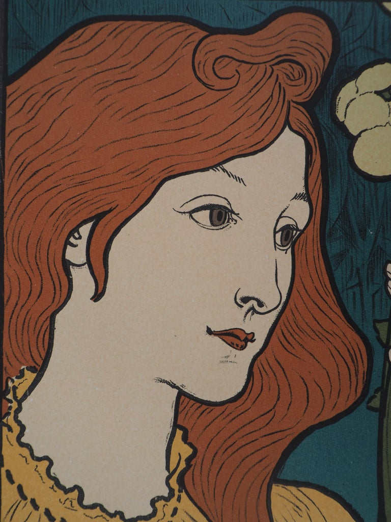 Eugene GRASSET (1845 - 1917) Woman with Flowers (Salon des Cent), 1897  Stone lithograph Printed signature in the plate On vellum  Size 39 x 29 cm (c. 15.3 x 11.4