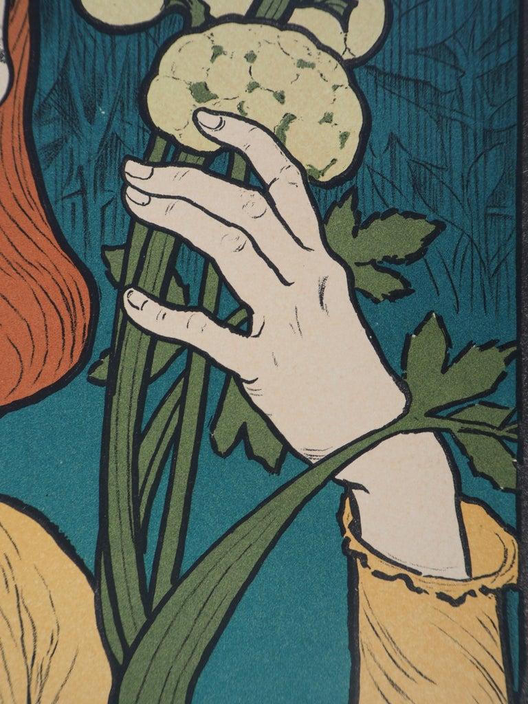 Woman with Flowers - Lithograph (Les Maîtres de l'Affiche), 1897 For Sale 1