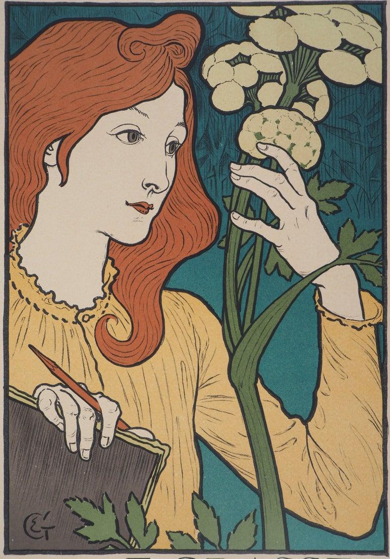 Woman with Flowers - Lithograph (Les Maîtres de l'Affiche), 1897 For Sale 2