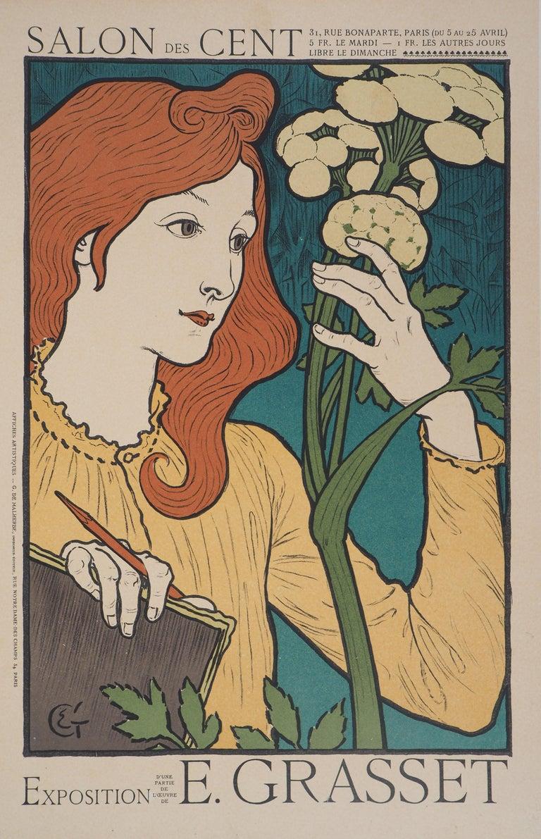 Eugene Grasset Figurative Print - Woman with Flowers - Lithograph (Les Maîtres de l'Affiche), 1897