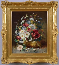 19th Century Still Life oil painting of flowers in a vase
