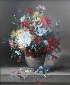 Carnations flowers in a vase, Oil on canas Signed  H. Cauchois circa 1890