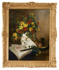 Cauchois Still Life of Flowers with Clarinet and Book