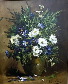 French early 20th century Still life of blue, white and green flowers in a vase