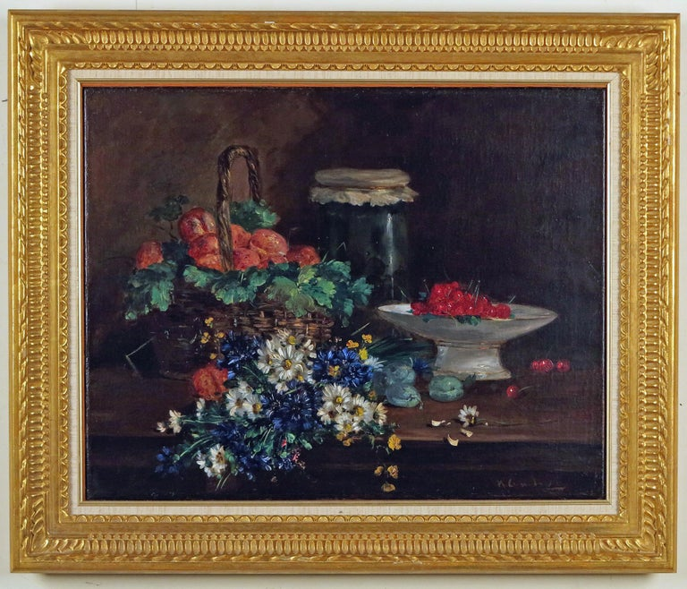 Still Life with Cherries - Painting by Eugene Henri Cauchois