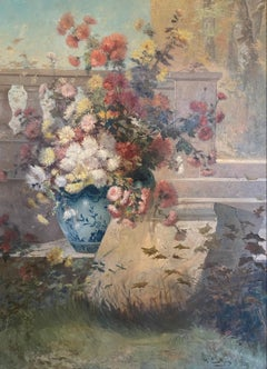 'Summer Bouquet' Still Life Bouquet Painting of red, pink and white flowers