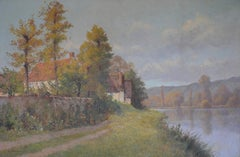 Au Bord de La Rive (River Scene in French Countryside Landscape Cottage & Trees)