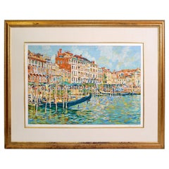 Eugene Kaspin Contemporary Impressionism Golden Framed Acrylic on Paper Painting