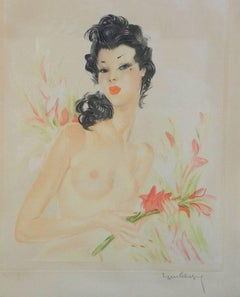 French Lithograph Artist Signed Eugene Leliepvre Nude Contemporary of Domergue
