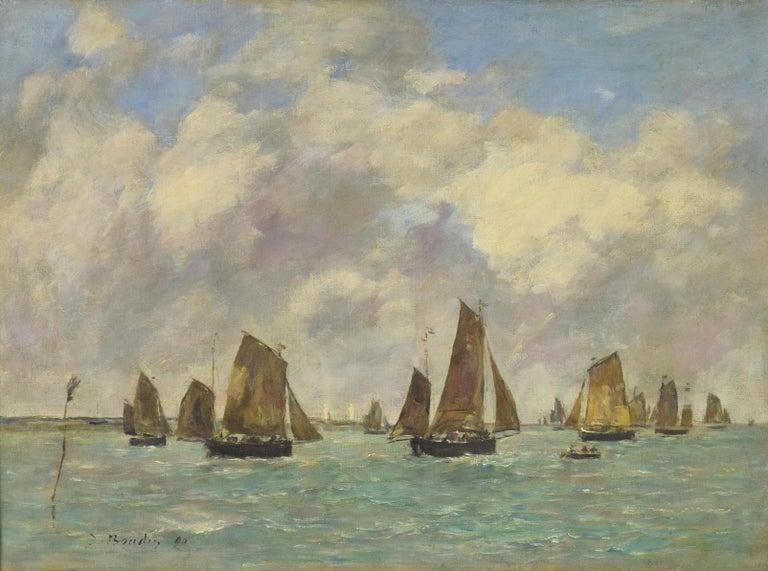Étaples, Sortie des Barques de Pêche, EUGÈNE BOUDIN - Impressionist, Seascape - Painting by Eugène Louis Boudin