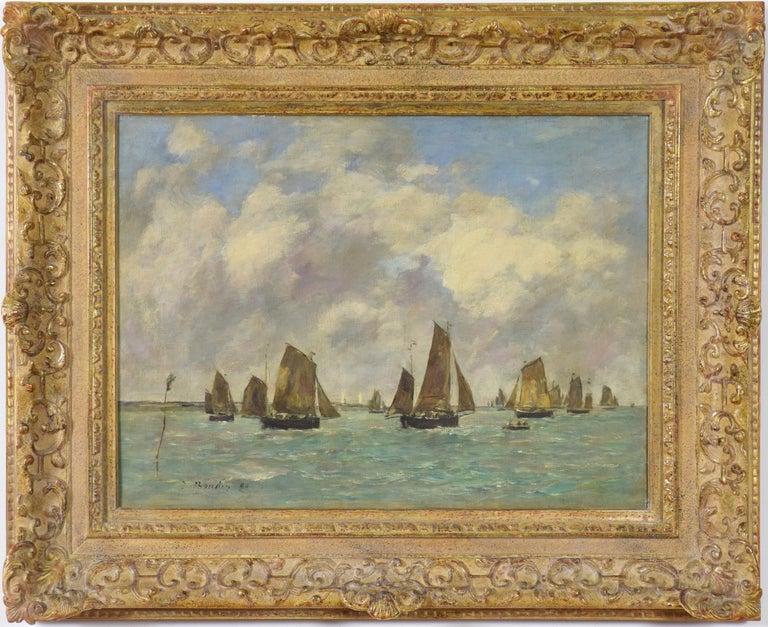 Eugène Louis Boudin Figurative Painting - Étaples, Sortie des Barques de Pêche, EUGÈNE BOUDIN - Impressionist, Seascape