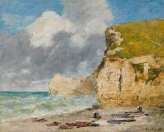 Étretat, La Falaise d'Amont - Eugene Boudin, cliffs, impressionist, painting