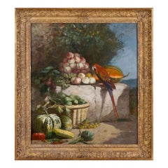 Still life painting of fruit and a parrot by French artist Eugène Boudin