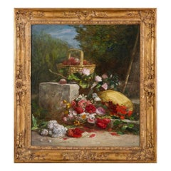 Still life painting of fruit and flowers by Eugène Boudin