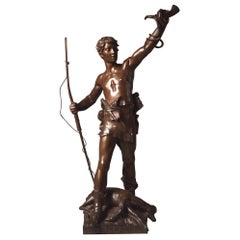 "Eugène Marioton (1854-1933), ""Hallali"" (hunting cry), huge sculpture, 82 cm"