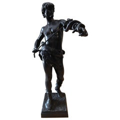 "Eugene Marioton French Bronze, circa 1890s, ""Fascinator"" Snake Charmer"
