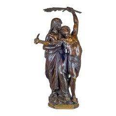 A Fine Quality Bronze Group 'Gloria Patriae' by Eugene Marioton