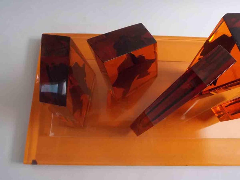 Late 20th Century Eugene Massin Abstract Acrylic Sculpture For Sale