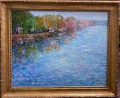 Along the Delaware, original 24x30 impressionist landscape